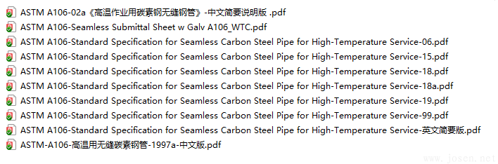ASTM A106 高温作业用碳素钢无缝钢管 标准下载